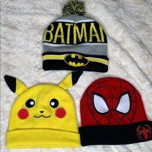 Batman   Pikachu Spider-Man 3 pc winter hat Beanie